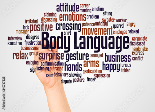 Leinwanddruck Bild Body Language word cloud and hand with marker concept