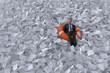 Leinwandbild Motiv businessman are floating on the sea of paper