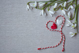 Snowdrops and hearts on the canvas