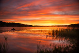 Summer sunrise over lake in Poland