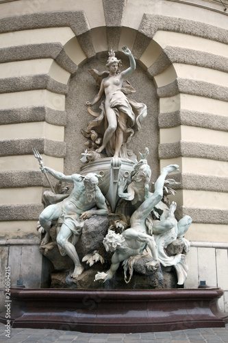 obraz lub plakat Michaelerplatz Fountain in Hofburg Quarter, Vienna.