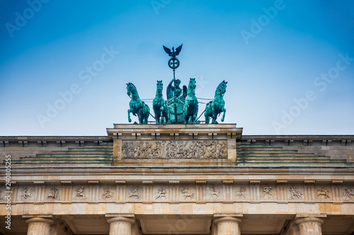 The Brandenburg Gate viewed from the Pariser Platz on the East side in a cold end of winter day