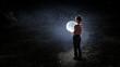 Boy holds the moon . Mixed media - 240810077