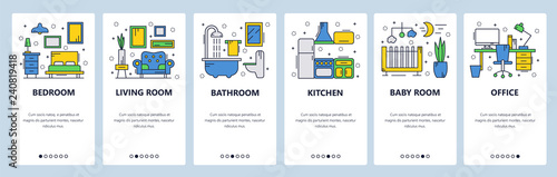 Web site onboarding screens. House interior, bedroom, living room, bathroom. Menu vector banner template for website and mobile app development. Modern design linear art flat illustration.