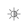 Brightness settings outline icon. linear style sign for mobile concept and web design. Camera brightness function simple line vector icon. Symbol, logo illustration. Pixel perfect vector graphics