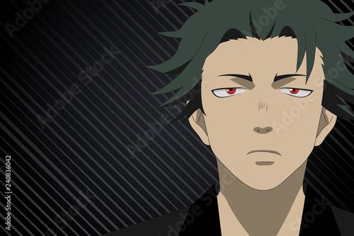 Anime face boy from cartoon on black background. Hero anime, manga in japanese style - 240836042