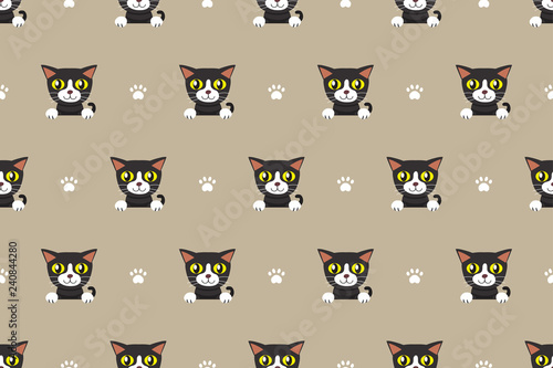 obraz lub plakat Vector cartoon character cat seamless pattern for design.