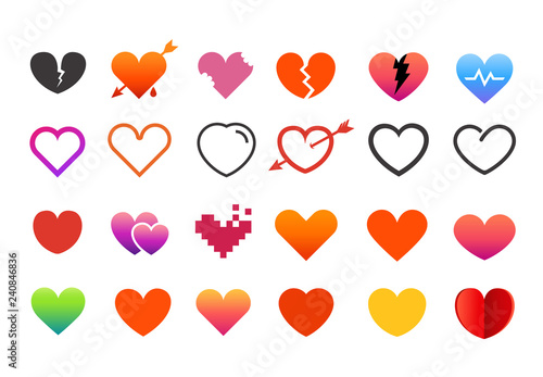 Different style heart symbols collection. Vector elements set isolated on white background