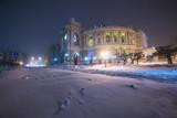 Snowstorm in the night city. Opera and Ballet Theatre. Odessa. Ukraine.