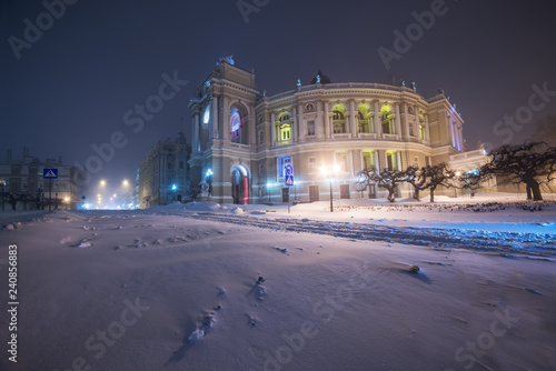 Snowstorm in the night city. Opera and Ballet Theatre. Odessa. Ukraine.