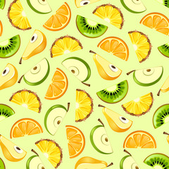 vector wallpaper of cartoon tropical fruit © Mosaic