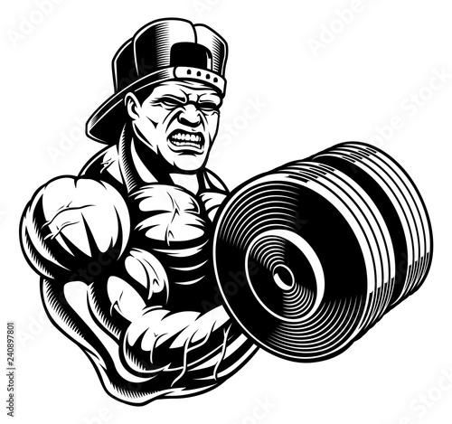 Black And White Illustration Of A Bodybuilder