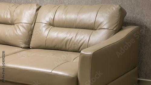 beige leather sofa, apartment interior