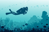 Scuba divers, mantas, coral reef, fishes. Underwater sea nad water sport.
