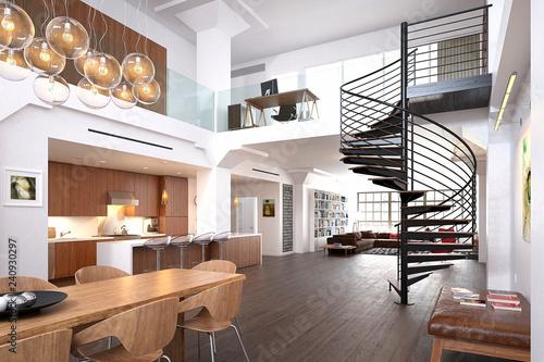3d render of luxury modern house interior - 240930297