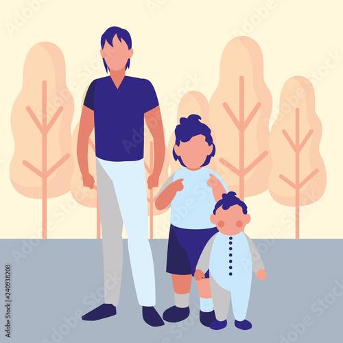 Man and kids design