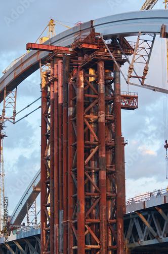 Metal construction unfinished bridge in Kiev on Ukraine. - 240942251