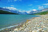 Scenic Looking at a clear blue lake in Glacier National Park. - 240944649