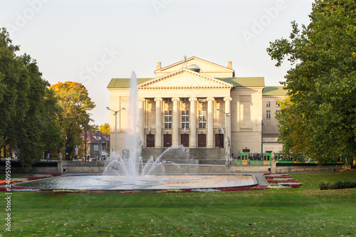 Poznan, Poland - October 12, 2018: Park with fountain before Opera House in polish city Poznan