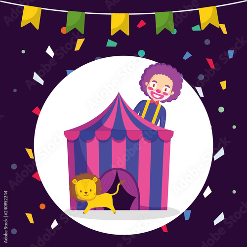 circus clown and lion in tent