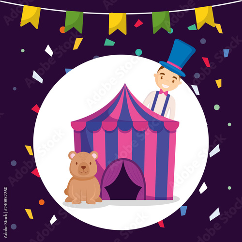 circus tent with bear teddy