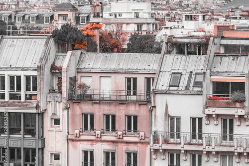 Panoramic view of architectural details of houses in Paris, France in creative retouch.