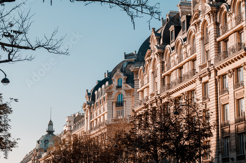 obraz PCV Panoramic view of architectural details of facade in Paris, France.