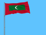 Flag of Maldives on the flagpole fluttering in the wind on a pure blue background, 3d rendering. - 240962687