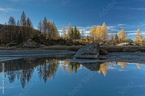 Riflessi autunnali sul fiume nelle Alpi, Lombardia