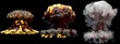 3D illustration of explosion - 3 large different phases fire mushroom cloud explosion of atom bomb with smoke and flame isolated on black background