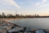 Dubai slyline from La Mer to sheikh Zayed Road and Dubai Downtown, United Arab Emirates