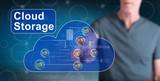 Man touching a cloud storage concept - 240974889