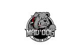 aggressive mad dog bulldog animal cartoon character vector badge logo template sporty theme