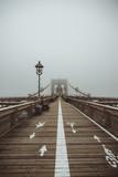 Brooklyn Bridge with lantern in the foreground