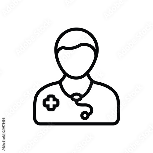 Black line icon for doctor - 240978654