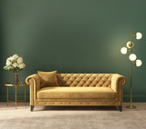 Classic elegant luxurious green interior with empty wall - 240979682
