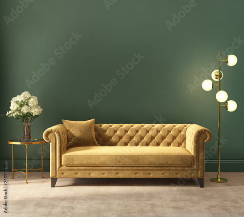 Classic elegant luxurious green interior with empty wall