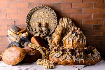 Ukrainian national traditional bread Karavay