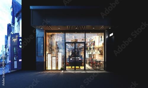 3d render of restaurant exterior view