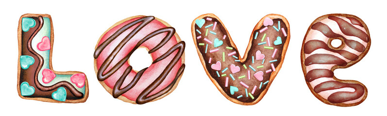Word Love from hand drawn watercolor cookies and donuts decorated with chocolate glaze and sweet confetti on white background. © Lyubov Tolstova