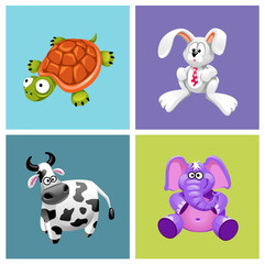 vector set of сute friendly toys of different animals © Mosaic