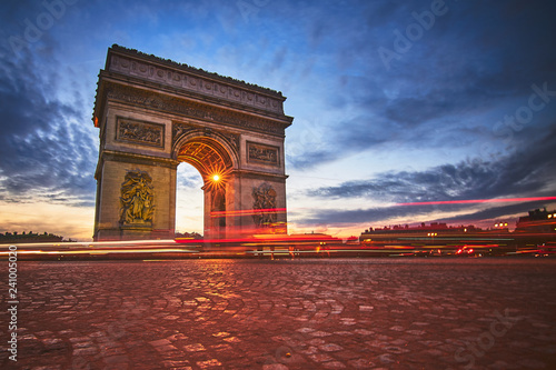 Beautiful view of triumphal arch with traffic lights
