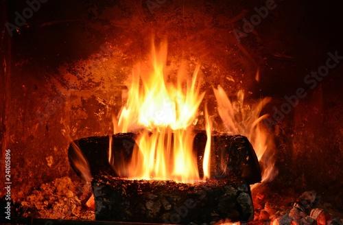 Foto Murales Fuego en una chimenea