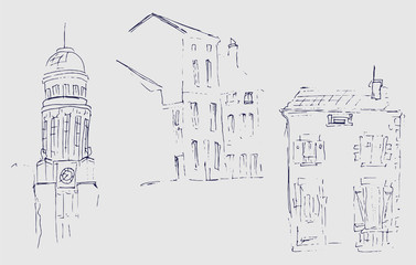 Ink sketch of buildings. Hand drawn illustration of Houses in the European Old town. Travel artwork. Set of three different houses. Black line drawing isolated on white background.