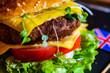 British hamburger on rustic background