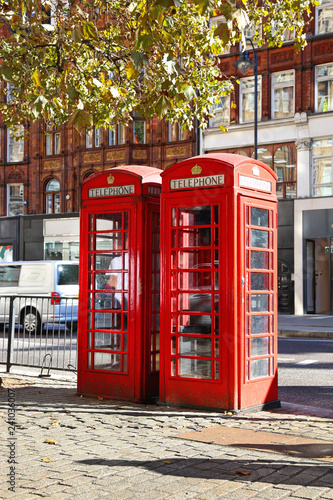 red telephone booths at London city United Kingdom - street photography