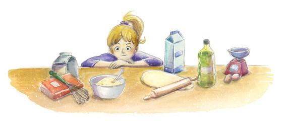 Niño en la cocina mirando los ingredientes © childrendrawings