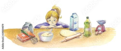 Niño en la cocina mirando los ingredientes - 241054479