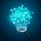 concept of search engine development, realistic magnifying glass with futuristic globe and digital technology icons - 241081425