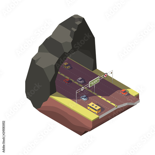 Tunnel road. Isometric vector illustration. Icon for infographics or design